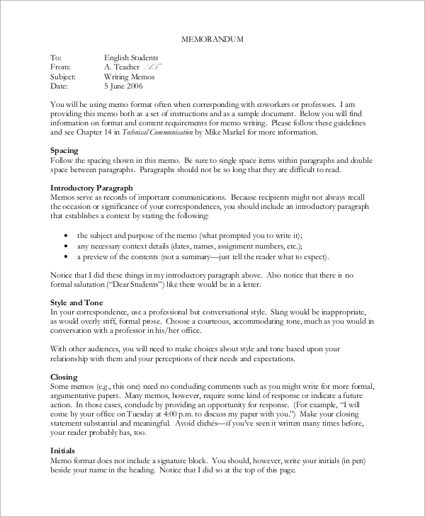 Sample Memo 9 Examples in Word PDF – Sample Memos