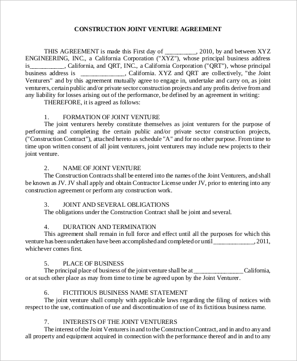 9 Sample Joint Venture Agreements Sample Templates