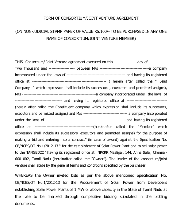 Joint Venture Agreement Sample Form  Joint Venture Agreements Sample