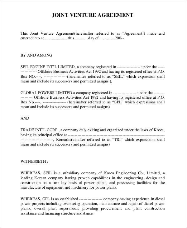 Sample Joint Venture Agreement 9 Examples in Word PDF – Joint Venture Agreement