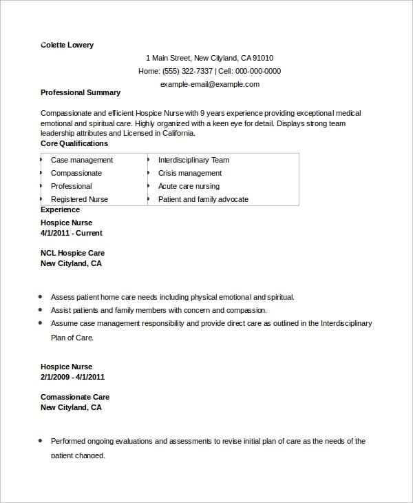 Sample Nursing Resume 10 Examples In Word Pdf - Example-of-nursing-resume