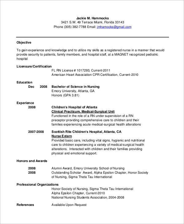 Sample Nursing Resume 10 Examples In Word Pdf
