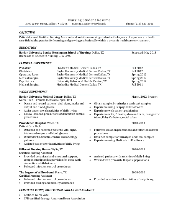 Sample Nursing Resume   Examples In Word Pdf
