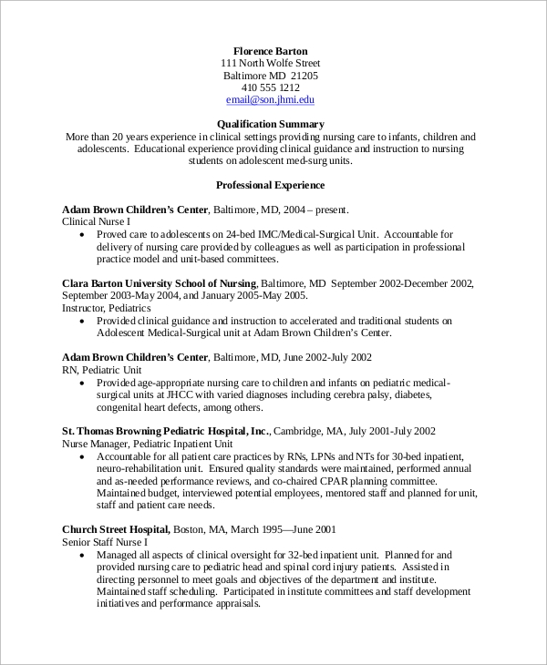 Experienced Nurse Resume Printable  Experienced Nurse Resume