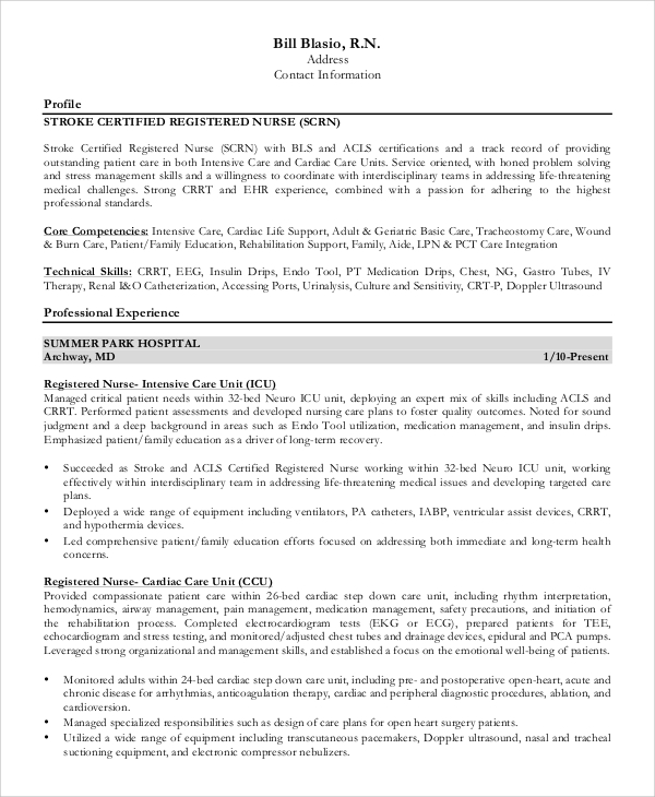 Free 9 Sample Registered Nurse Resume Templates In Ms Word Pdf
