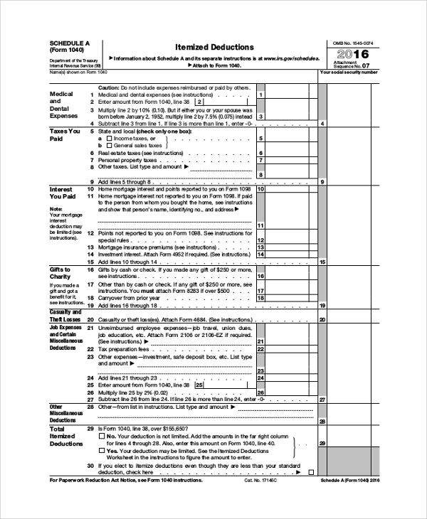 Sample Schedule A Form 1040