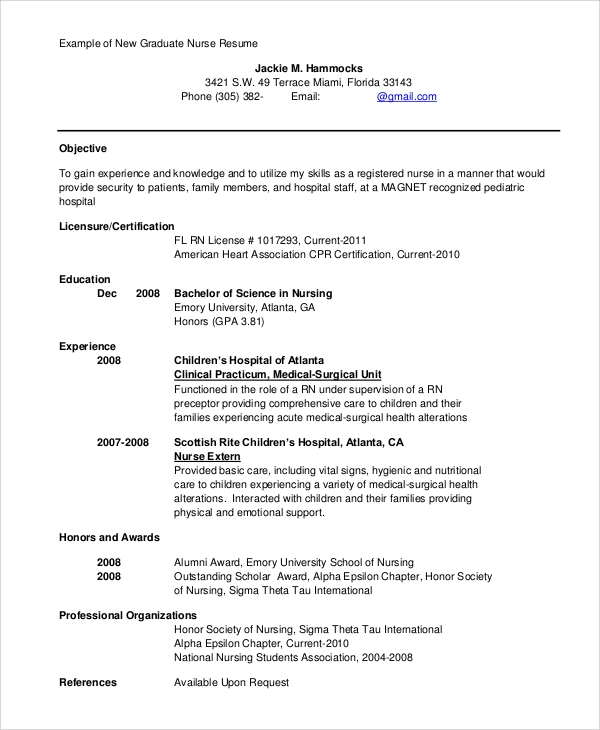 Sample Registered Nurse Resume   Examples In Word Pdf
