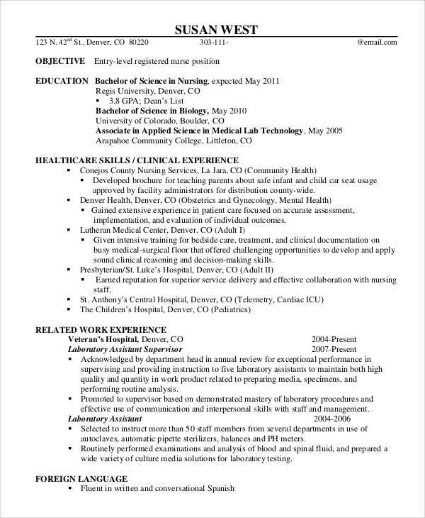 sle registered resume 9 exles in word pdf