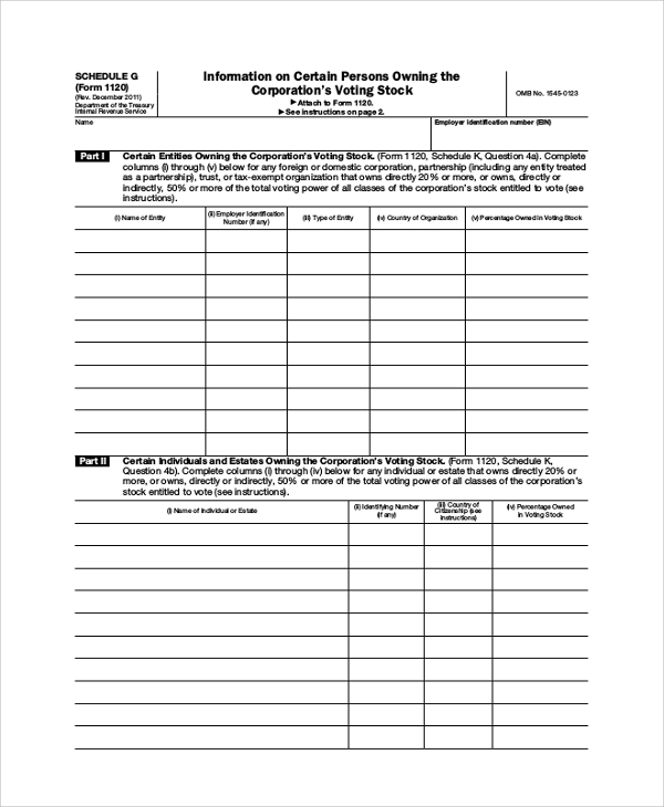 Sample Schedule A Form 8 Examples In Pdf