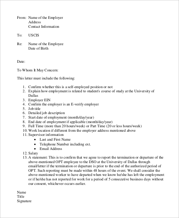 Letter Of Employment For Immigration Free Printable Letter Of