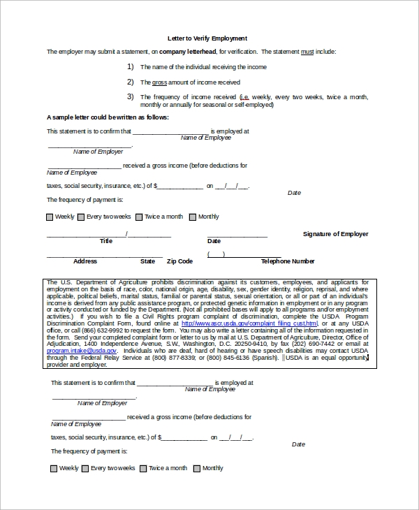 employment verification letter example - Verification Of Employment Sample Letter