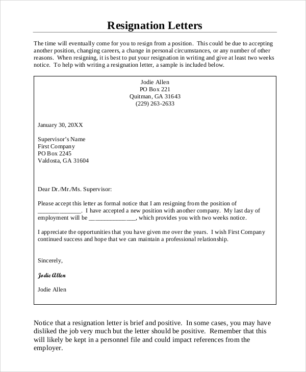 Sample Resignation Letter Format   Examples In Word Pdf