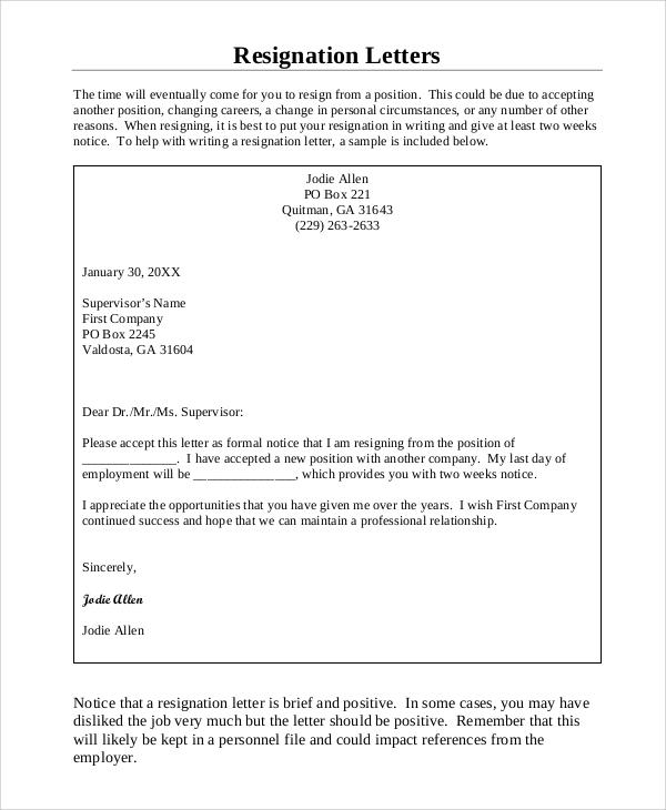 proper resignation letter format