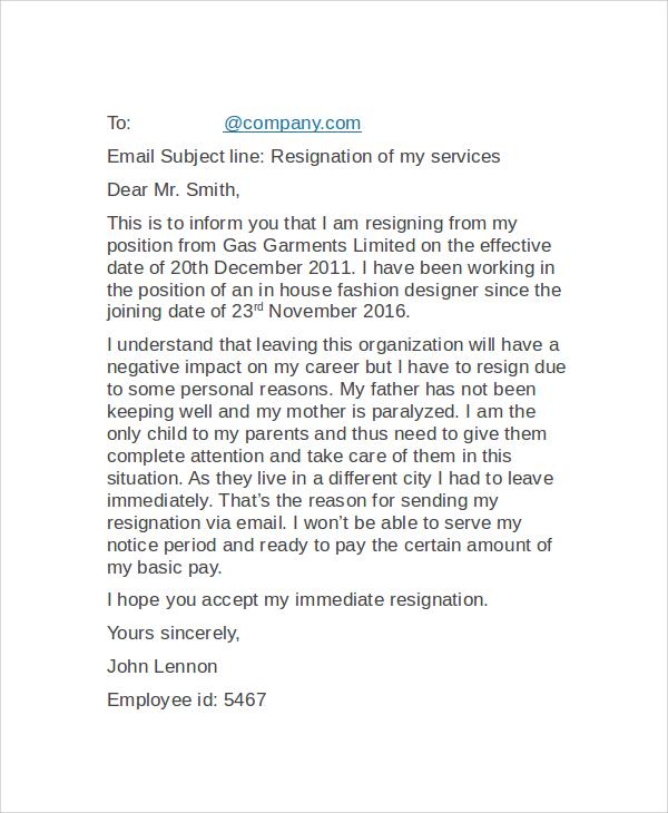 email resignation letter format