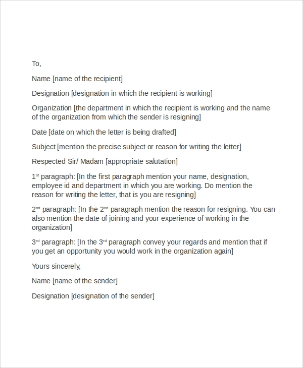 resignation letter format in word