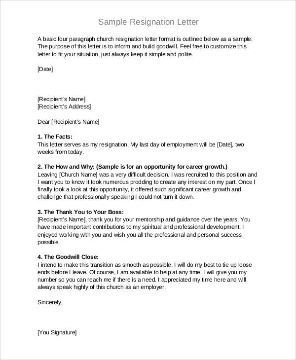 resignation letter format pdf