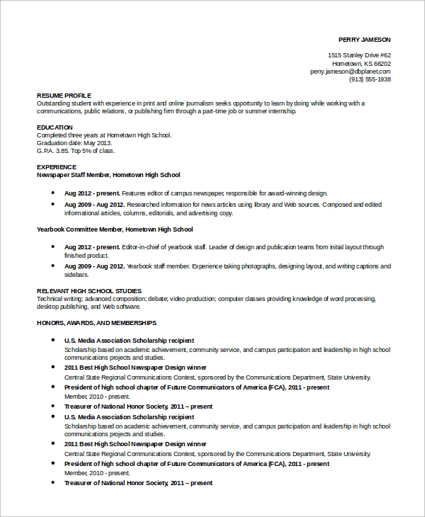 Simple Resume Example   Examples In Word Pdf