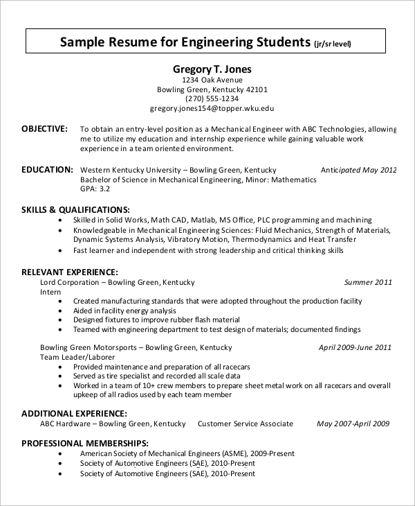 free 9  simple resume examples in ms word
