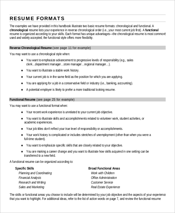 Most Common Resume Format Most Popular Resume Format Resume