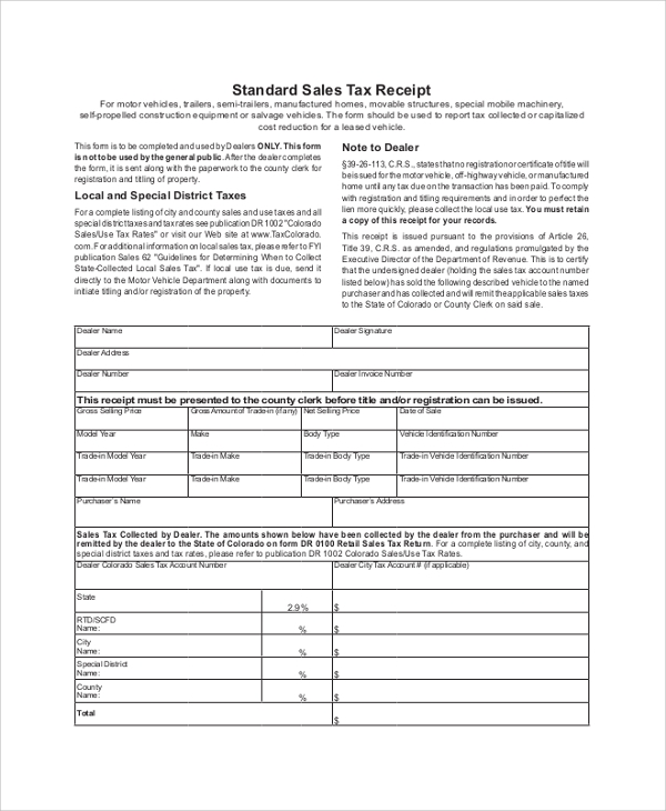 Sample Sales Receipt 8 Examples in PDF Word – Receipt Samples