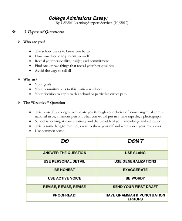 Essay for college admission format