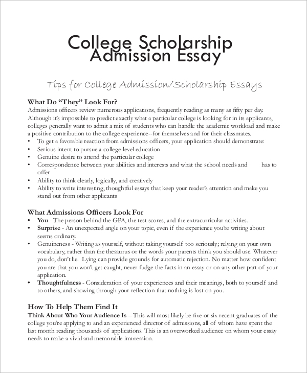 College scholarship essay example