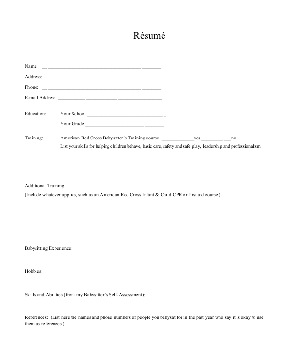 sample babysitting resume