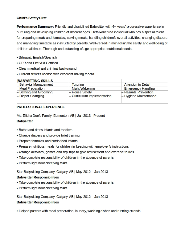 Sample Babysitter Resume   Examples In Word Pdf