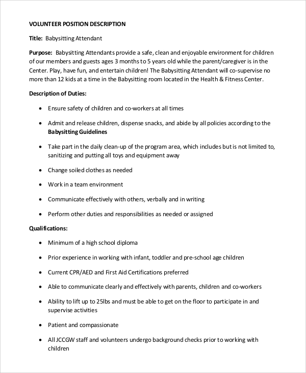 Babysitter Job Description For Resume