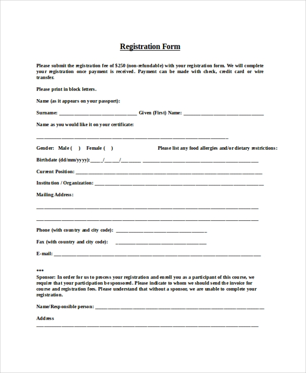 Format-of-Registration-Form Sample Grant Letter Templates on intent for non-profit, proposal rejection, intent for ced, award notification, fire department, dare program, application cover,