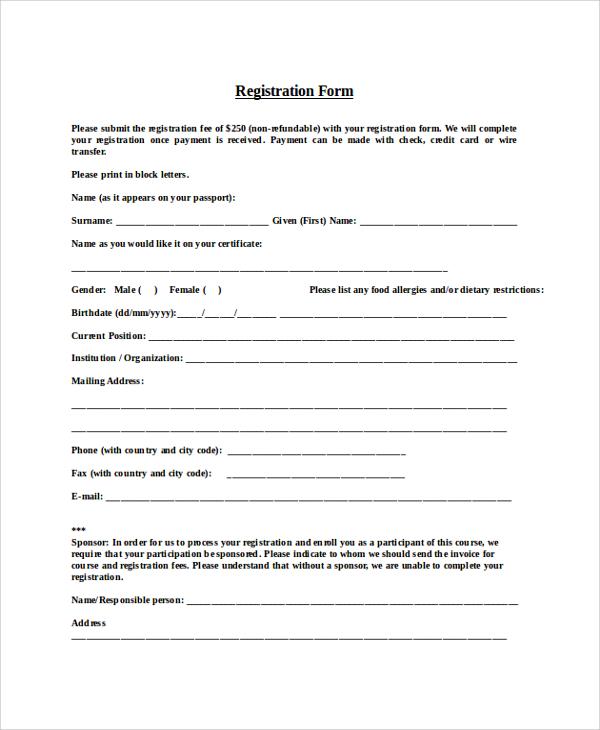 free 8  registration form samples in pdf
