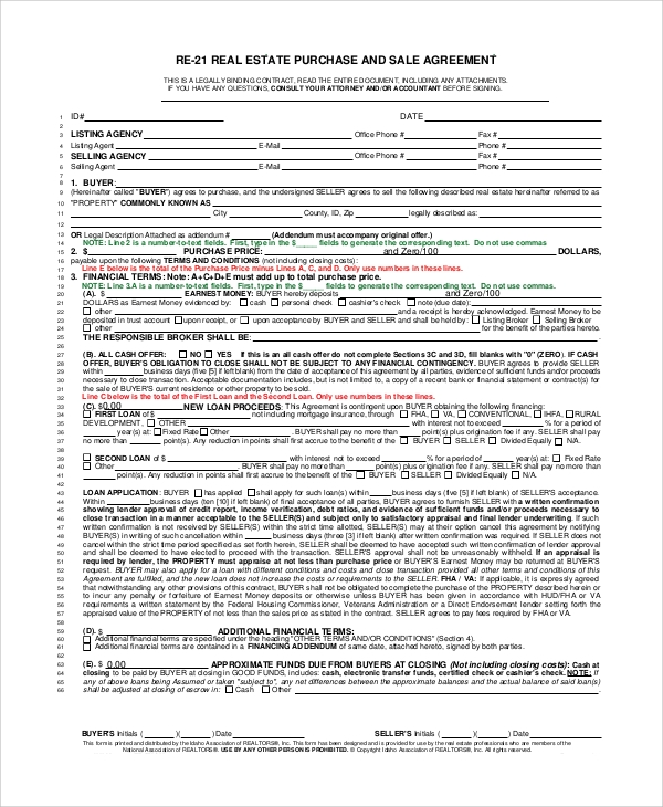 sample real estate purchase agreement 9 examples in pdf word