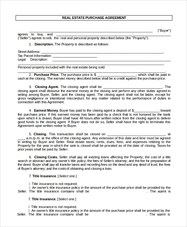 Doc575709 Property Purchase Agreement Template Real Estate – Sample Real Estate Purchase Agreement Template