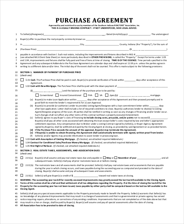 Sample Real Estate Purchase Agreement 9 Examples In Pdf
