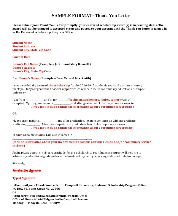 Sample Professional Thank You Letter 7 Examples in Word PDF