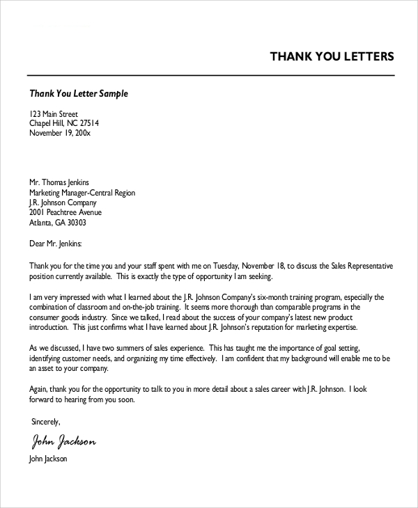 Sample Professional Thank You Letter   Examples In Word Pdf