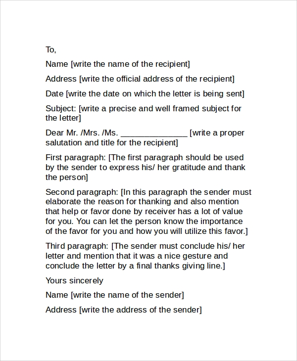 sample professional thank you letter