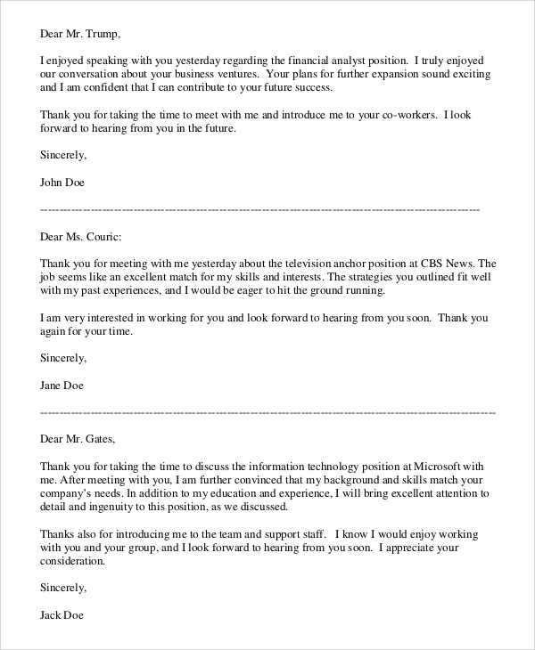 professional thank you letter sample