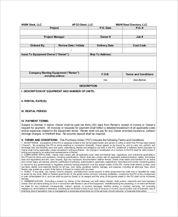 equipment rental purchase order sample