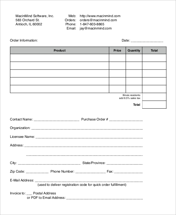 Software Purchase Order Form
