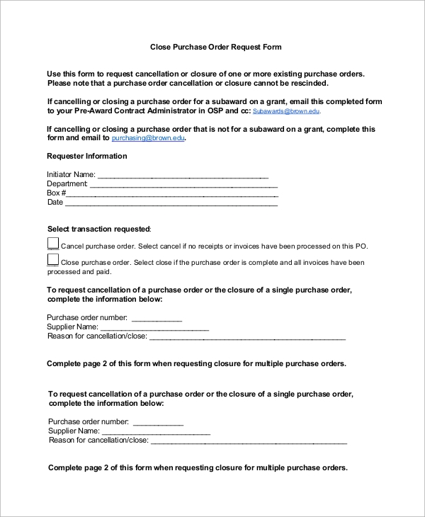 close purchase order request form
