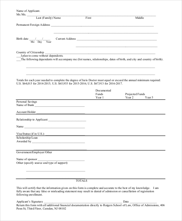 Sample Affidavit Of Support Form   Examples In Pdf Word