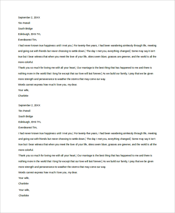 Sample Love Letter For Him   Examples In Word