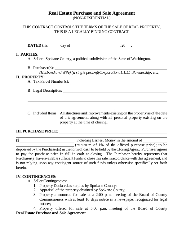 purchase and sale agreement template land contract sample
