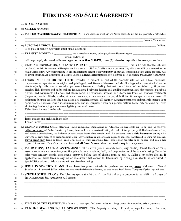 purchase and sale agreement sample