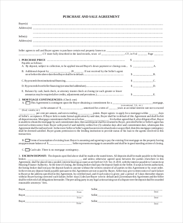 Sample Purchase And Sale Agreement   Examples In Pdf Word