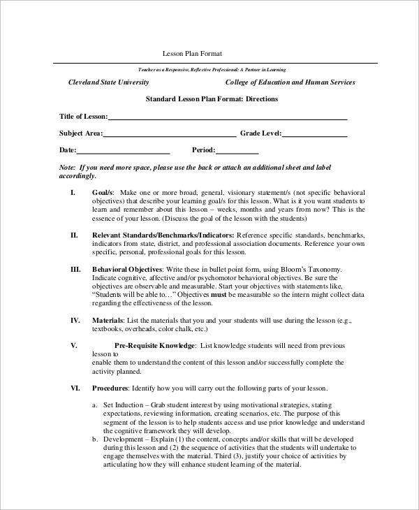 standard lesson plan format1