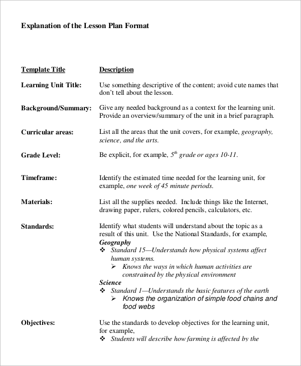Detailed Lesson Plan Sample Format  Lesson Plan Formats