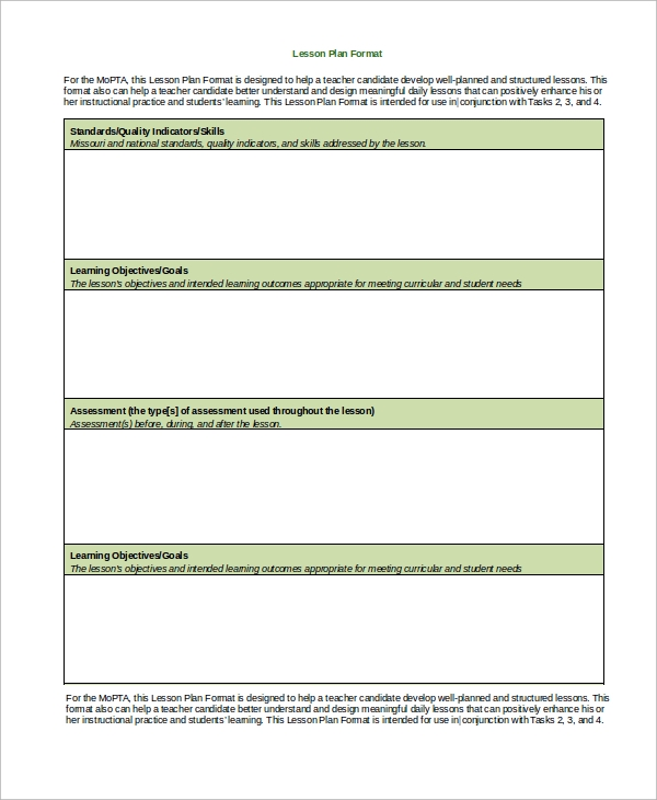 8 Lesson Plan Format Samples Sample Templates