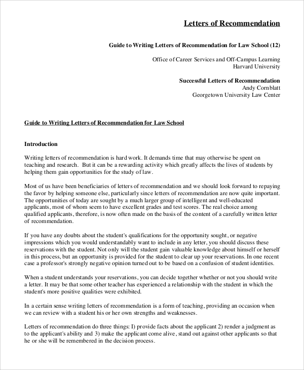 law school letter of recommendation 8 recommendation letter samples sample templates 22707 | Letters of Recommendation for Law School